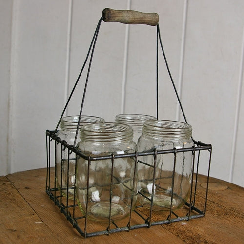 Rustic Wire Basket with Mason Style Glass Jars, Wood Handle