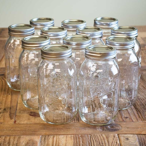 Mason Jar With Lid, Small Mouth, Quart, Canning, 32 oz, 12 Pack