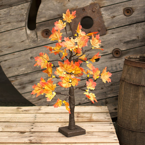 LED Lighted Maple Tabletop Tree, Fall Color Leaves, 21 in, Warm White