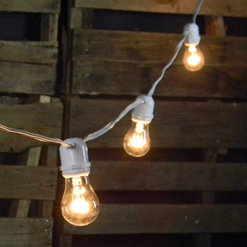 Commercial String Lights, 48 Foot White Wire, Warm White