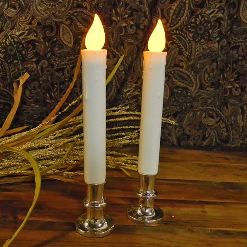 LED Candle, Flickering, Silver Base with Timer, Set of 2