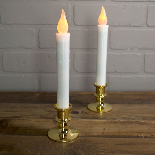 Flameless LED Candle, 9.5 in, Gold Base, Timer, Battery, Orange, 2 Pk