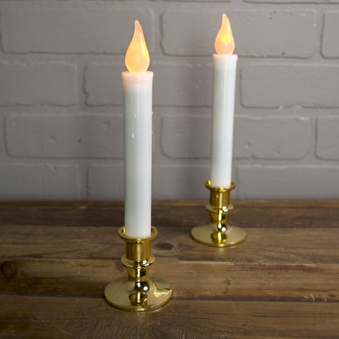 Welcome Candle Lamp, 9 inch, Brass Plated, Plug-in, Automatic Sensor