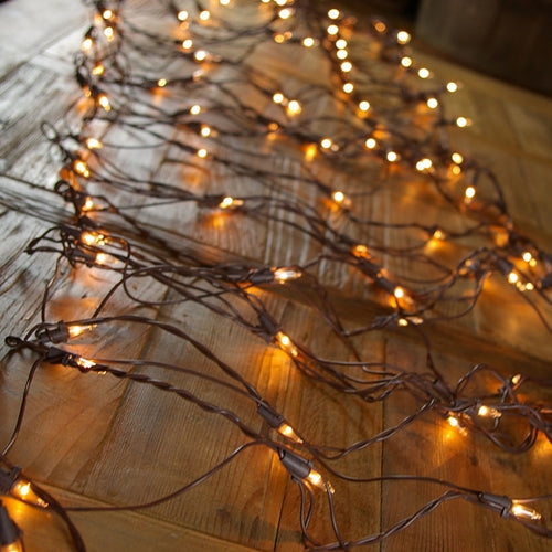 Net Lights, Brown wire, 2x8 ft., 150 Bulbs, Plug in, CLEAR