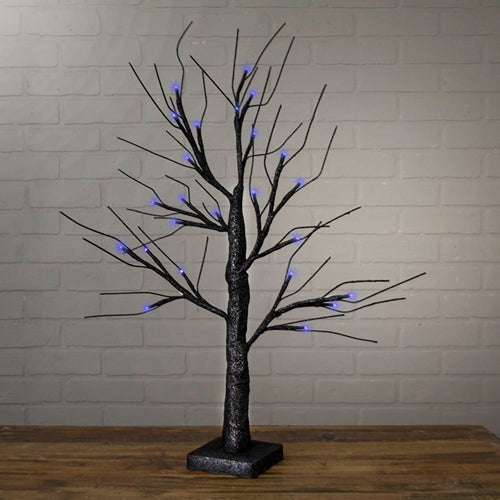 Lighted Table Top Tree, 24 Inch, 24 Purple Lights, Battery Operated
