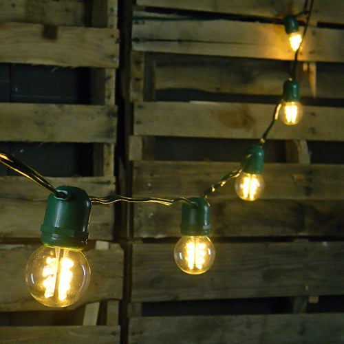 Commercial LED Globe String Lights, 48 Foot Green Wire, Warm White