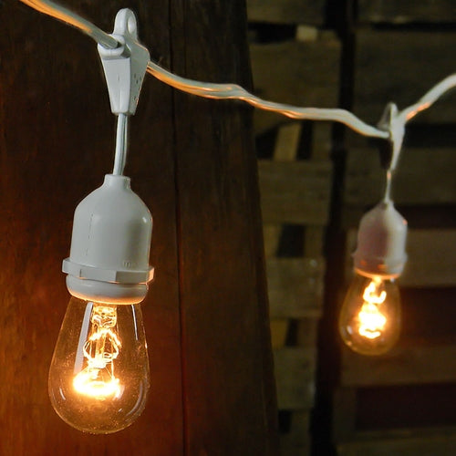 Commercial Edison Drop String Lights, 48 Foot White Wire, Warm White