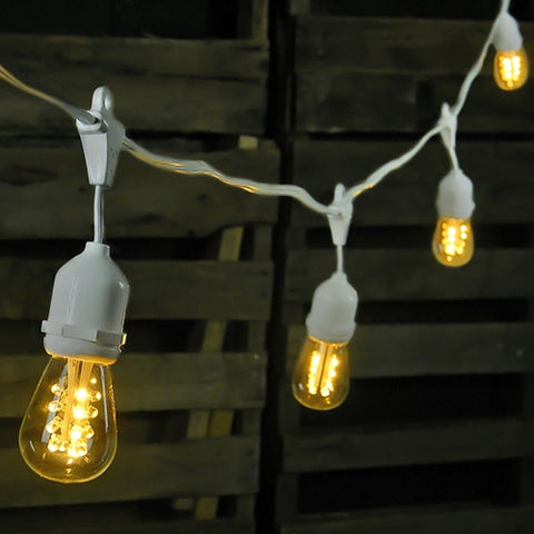 Duet Globe String Lights, 50 Ft C7 White Wire, G50 Bulb, Pearl & Clear