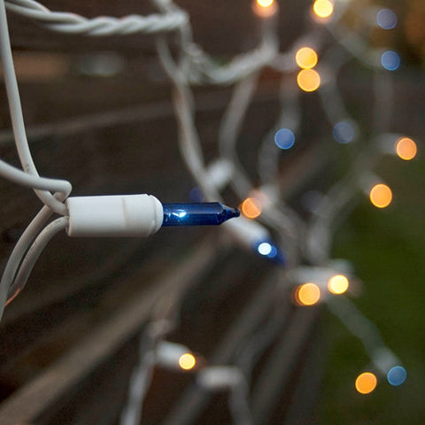 String Lights, 50 C7 Bulbs, 50 ft. White Wire, Outdoor, Plug in, BLUE