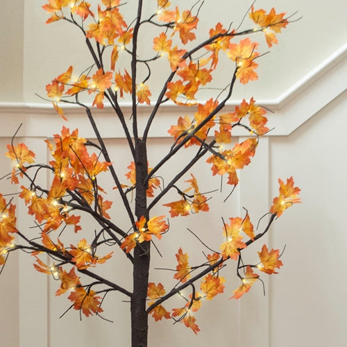 LED Lighted Tree, Yellow & Orange Maple Leaves, 6 ft, Warm White