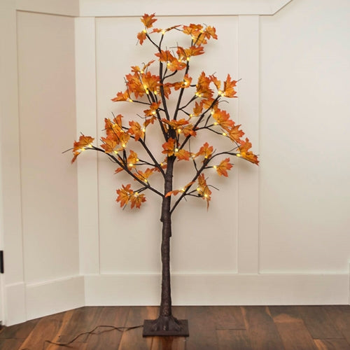 LED Lighted Tree, Yellow & Orange Maple Leaves, 4 ft, Warm White