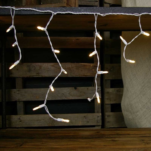 Outdoor LED Icicle Lights, Mini-ice Bulbs, 7 ft White Wire, WARM WHITE