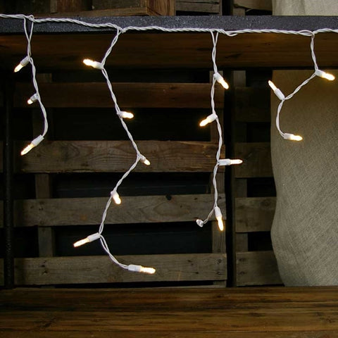 Outdoor Icicle Lights, Multi Length,  14.5 ft. White Wire, PINK