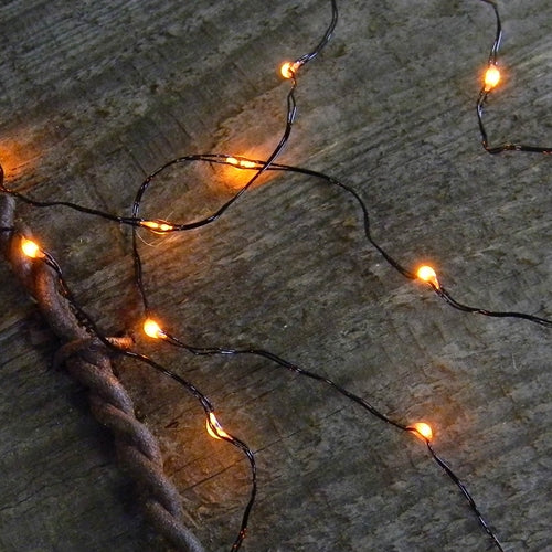 String Light, Outdoor Battery Op, 18 Micro LED Fairy Lights, ORANGE