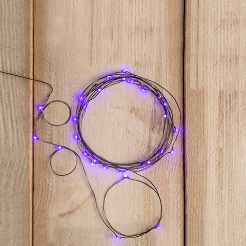 String Light, Outdoor Battery Op, 30 Micro LED Fairy Lights, ORANGE