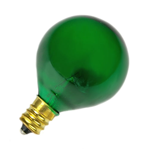 Replacement Globe Light Bulb, G40 E12, 5w Translucent Green, 25 PK