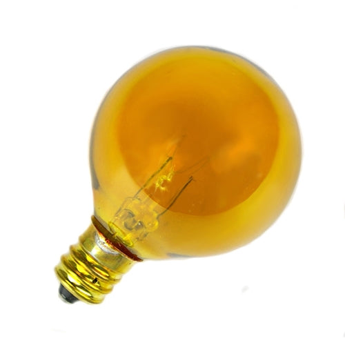 Replacement Globe Light Bulb, G40, E12, 5w/130v, Translucent Yellow