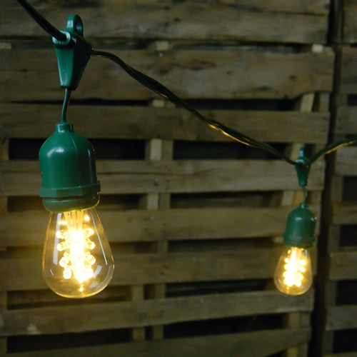 Commercial LED Edison Drop String Lights, 48 Foot Green Wire, Warm White