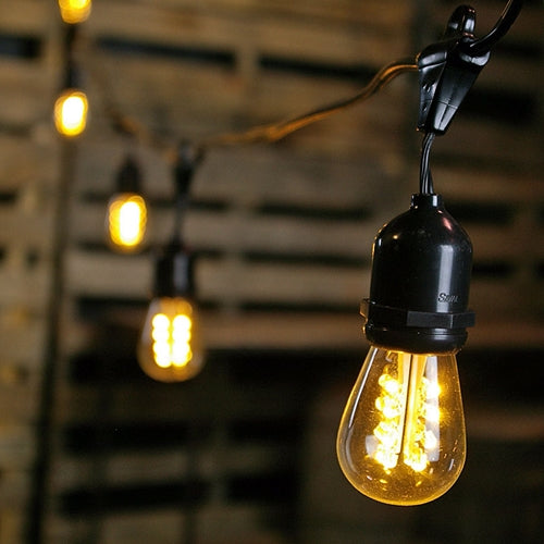 Commercial LED Edison Drop String Lights, 100 Foot Black Wire, Warm White