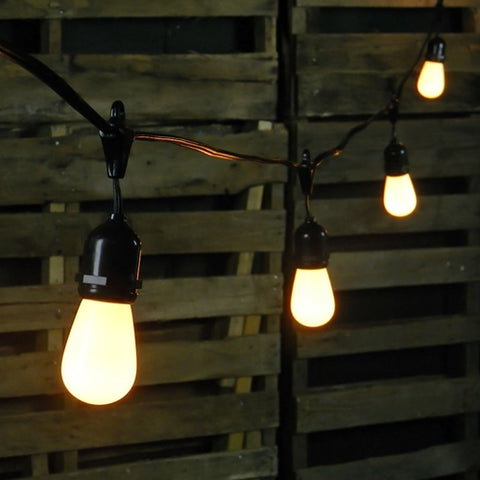 Commercial LED Edison String Lights, 100 Foot Black Wire, Warm White