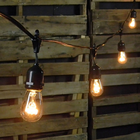 Globe String Lights, 1.5 in. LEDs, 100 ft. Black Wire, C7, Warm White