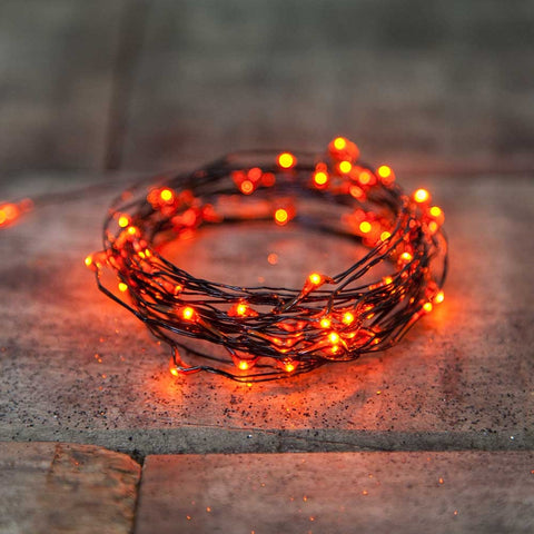 Halloween String Lights, 50 Mini Lights, Green, Purple, Orange Bulbs