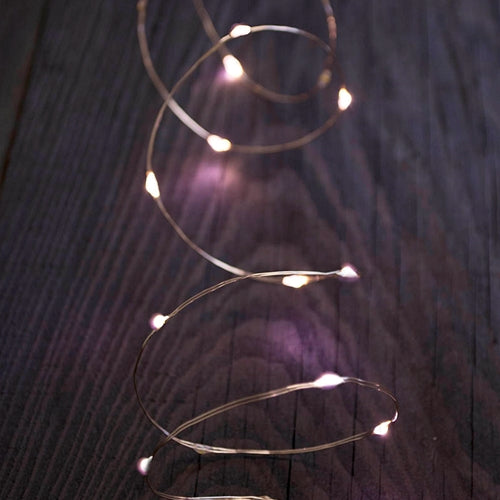 LED Fairy Lights, 5 ft. silver wire, Battery Operated, Timer, Twinkle, Warm White