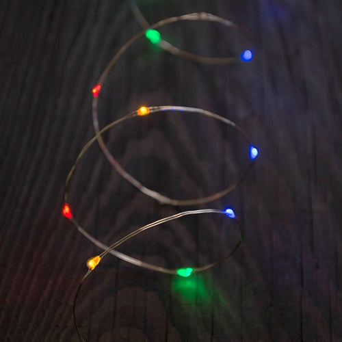 LED Fairy Lights, 5 ft. silver wire,   Battery Operated, Timer, Twinkle, Multicolor