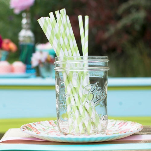 Paper Party Straws, Striped, Pack of 24, Green