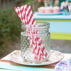 Paper Party Straws, Striped, Pack of 24, Deep Red