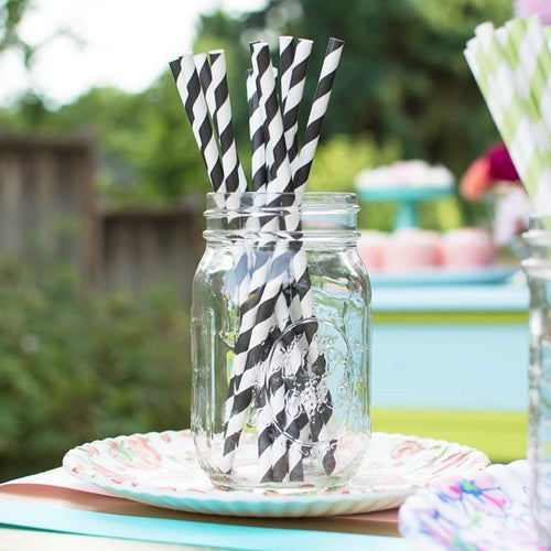 Paper Party Straws, Striped, Pack of 24, Black
