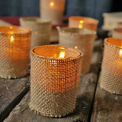 Burlap Wrapped Votive Candle Holders, Set of 12