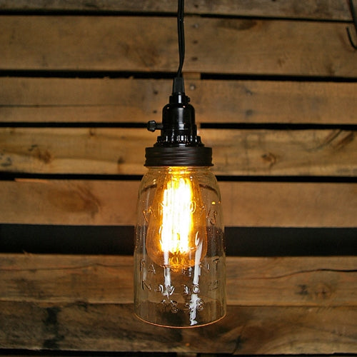 Pendant Lamp, Rustic Open Bottom Quart Mason Jar, Vintage Detail, Black Lid