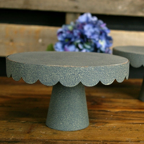Cake Stand, Round Metal Scalloped Tray, 7 inch Diameter, Gray