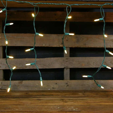 Outdoor LED Icicle Lights, Mini-ice Bulbs, 7 ft White Wire, COOL WHITE