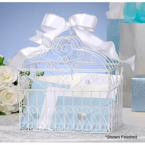Wire Bridal Bird Cage Wedding Card or Flower Holder Decoration, WHITE
