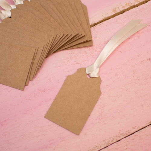 Brown Paper Gift Tags, Kraft Labels with Ribbon, 3 x 1.75 in, 24 pcs