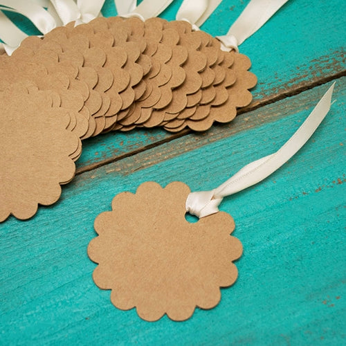 Brown Paper Gift Tags, Scalloped Round Kraft Labels, 2.5 in, 24 pcs