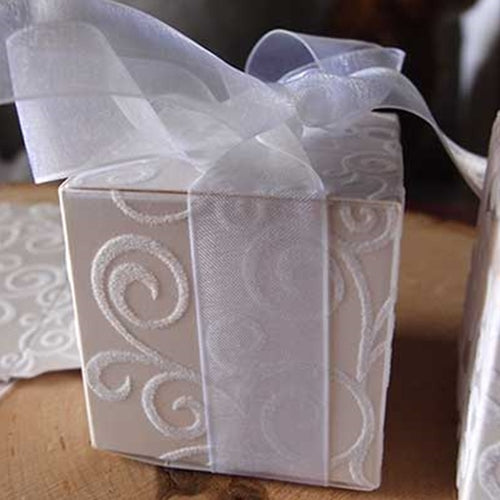 Flocked Favor Boxes with Ribbon, Swirl Design, 24 Boxes & Ribbons