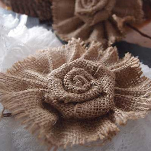 Burlap Flower Picks, 4 x 5 inch, 2 pieces, BURLAP