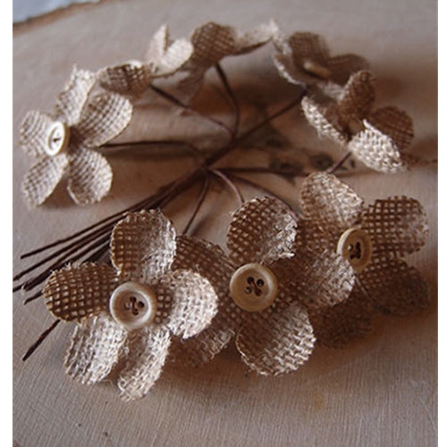 Burlap Flower Picks with Buttons, 4.5 x 3.5 in, 2 Bundles
