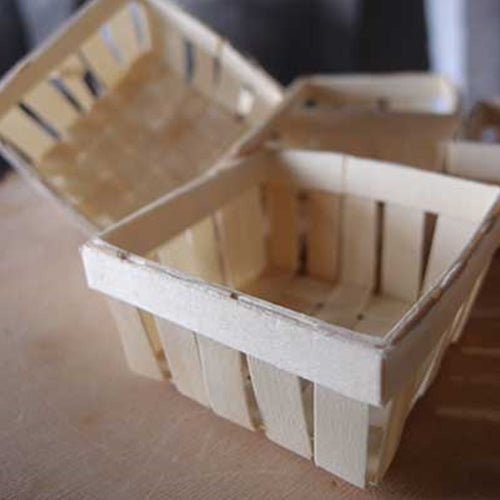 Mini Wood Basket Favors, 2.75 x 2.75 x 1.35 in, 6 pc