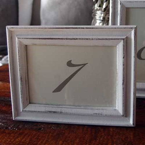 Whitewash Frames for Numbered Cards (3.5 x 5 inch), 4 pc, WHITE