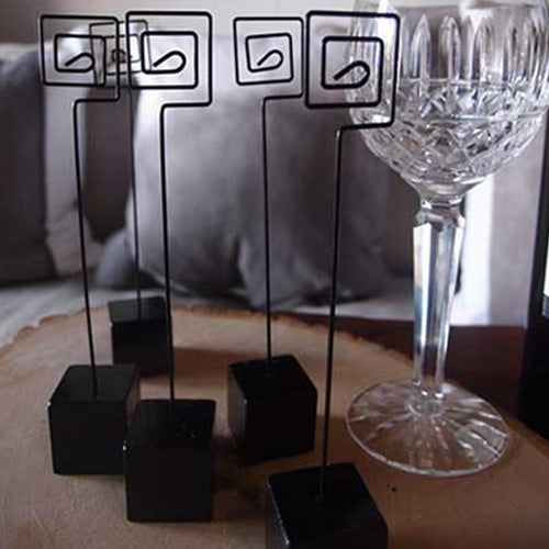 Table Number Weighted Stands, Place holder, Card holder, 5 pc, BLACK