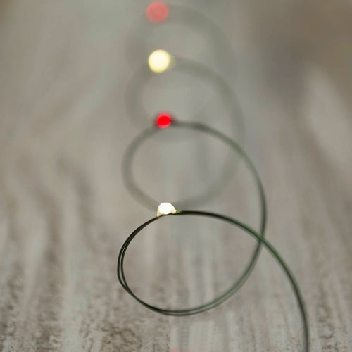 Fairy Lights, LED, Battery Op, 11ft, Green Wire, Christmas Candy Cane