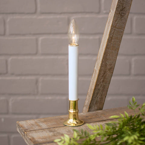 Electric Welcome Candle Lamp with Large Metallic Gold Base, Plug-in