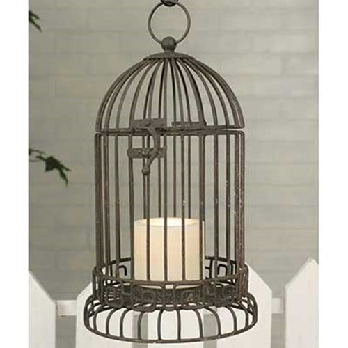 Birdcage Candle Holder, Rustic Metal, 7 x 13 inches, Hinged, BROWN