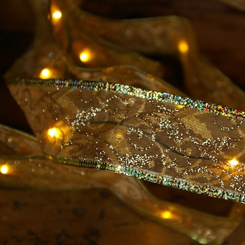 Gold Ribbon LED Fairy Lights, 6 feet, Battery Operated, 18 Warm White