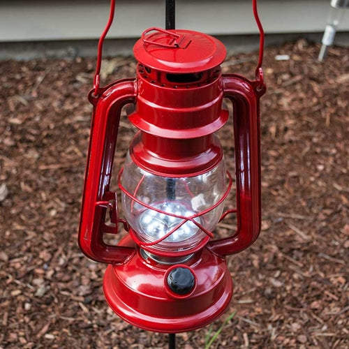 Hurricane Lantern Light, 9.5 inch Red Metal, Battery Op. Dimmable LED