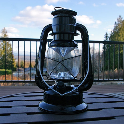 Hurricane Lantern Light, 11.5 in. Black Metal, Battery Op. Dimmable LED